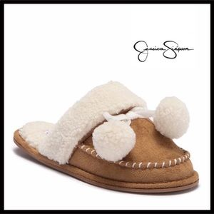 JESSICA SIMPSON FAUX SHEARLING SLIP ON MOCASSINS